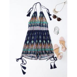 Halter Tribal Print Backless Romper