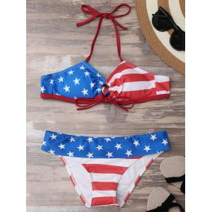 Halter Stars and Stripes American Flag Bikini Set
