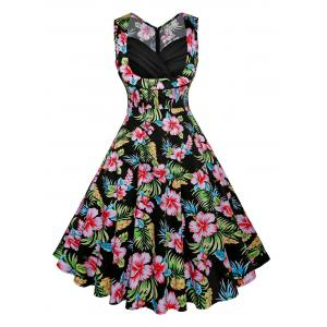 Floral Print Fit and Flare Vintage Dress