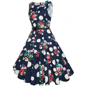 Vintage High Waist Printed Belted Midi Dress -
