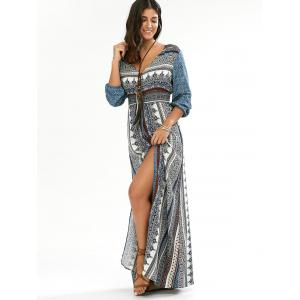 Button Down V Neck Long Boho Dress with Split -