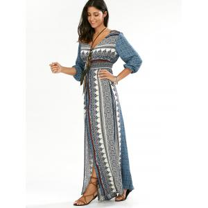 Boho Button Down Empire Waist Maxi Dress - BLUE XL