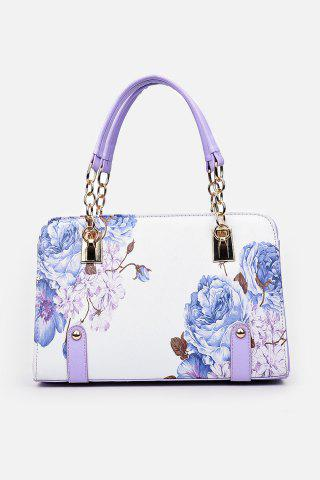 New Metal Detail Flower Print Handbag PURPLE
