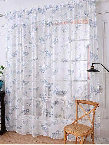 Outfit Butterfly Transparent Window Curtain - W40INCH*L79INCH LIGHT BLUE Mobile