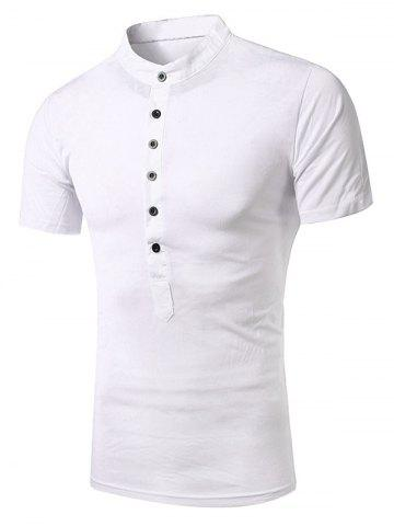 Fancy Stand Collar Splicing Design Short Sleeve T-Shirt For Men WHITE XL