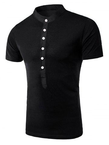 Sale Stand Collar Splicing Design Short Sleeve T-Shirt For Men BLACK XL