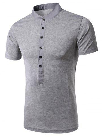 Unique Stand Collar Splicing Design Short Sleeve T-Shirt For Men - M LIGHT GRAY Mobile