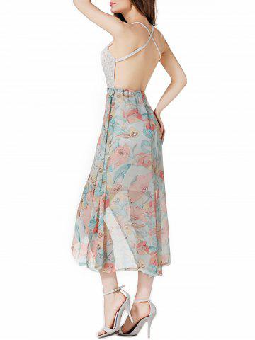 Outfits Tea Length Open Back Floral Slip Party Dress - M PINKISH BLUE Mobile