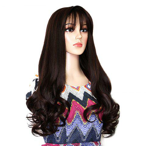 Unique Long Neat Bang Botton Wavy Synthetic Party Wig - DEEP BROWN  Mobile