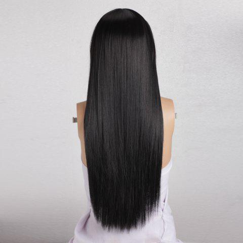 Shop Long Silky Straight Neat Bang Dyeable Synthetic Party Wig - BLACK  Mobile