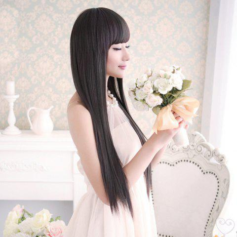 Cheap Long Silky Straight Neat Bang Dyeable Synthetic Party Wig - BLACK  Mobile
