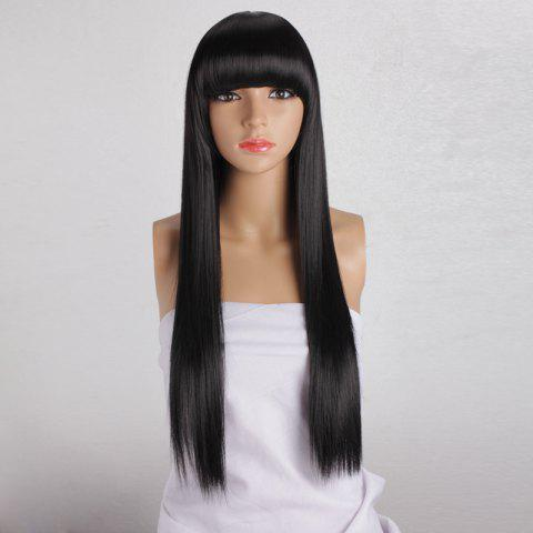 Online Long Silky Straight Neat Bang Dyeable Synthetic Party Wig - BLACK  Mobile