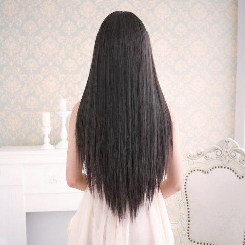 Outfit Long Silky Straight Neat Bang Dyeable Synthetic Party Wig - BLACK  Mobile