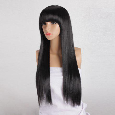 Latest Long Silky Straight Neat Bang Dyeable Synthetic Party Wig - BLACK  Mobile