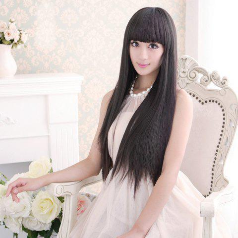 Best Long Silky Straight Neat Bang Dyeable Synthetic Party Wig BLACK