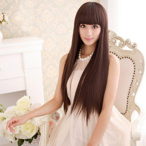 Outfit Long Silky Straight Neat Bang Dyeable Synthetic Party Wig - DEEP BROWN  Mobile