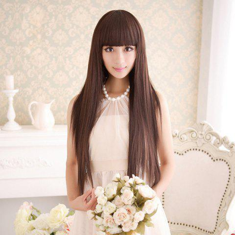 Cheap Long Silky Straight Neat Bang Dyeable Synthetic Party Wig DEEP BROWN