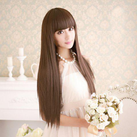 Outfit Long Silky Straight Neat Bang Dyeable Synthetic Party Wig LIGHT BROWN