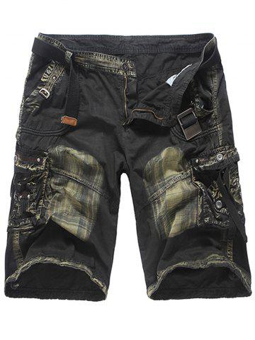 Affordable Multi Pockets Tie Dye Cargo Shorts DEEP GRAY 32