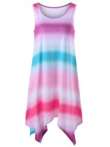 Ombre Handkerchief Hem Sleeveless Dress - Multi - M
