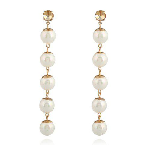 Affordable Faux Pearl Super Long Ball Earrings GOLDEN