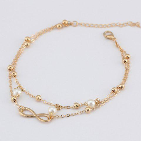 Buy Beads Faux Pearl 8 Shape Double Layered Anklet - GOLDEN  Mobile