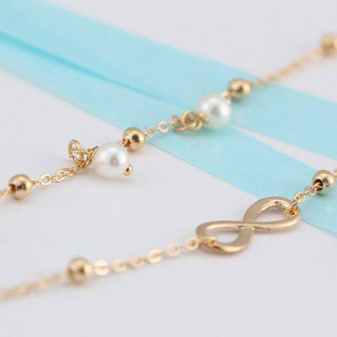 Outfit Beads Faux Pearl 8 Shape Double Layered Anklet - GOLDEN  Mobile