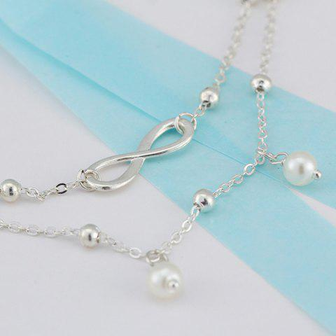 Chic Beads Faux Pearl 8 Shape Double Layered Anklet - SILVER  Mobile