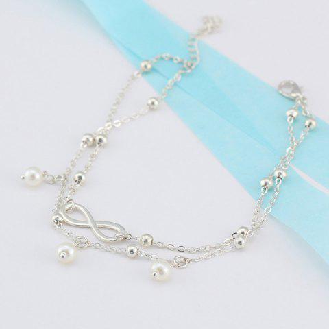 Outfit Beads Faux Pearl 8 Shape Double Layered Anklet - SILVER  Mobile