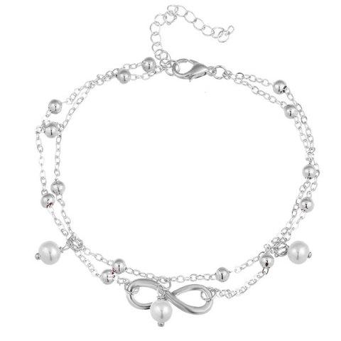 Buy Beads Faux Pearl 8 Shape Double Layered Anklet SILVER