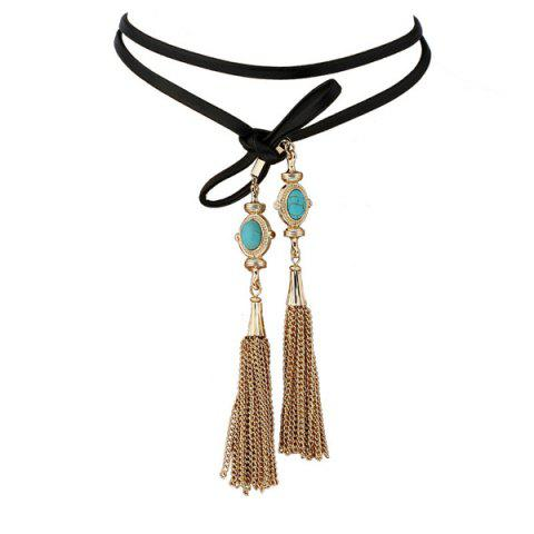 Chain Tassel Turquoise Faux Leather Layered Choker - Turquoise Blue