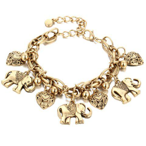 Alloy Elephant Heart Charm Chain Bracelet - Golden
