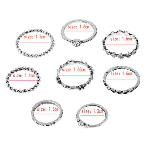 Chic Rhinestone Alloy Engraved Ring Set - SILVER  Mobile