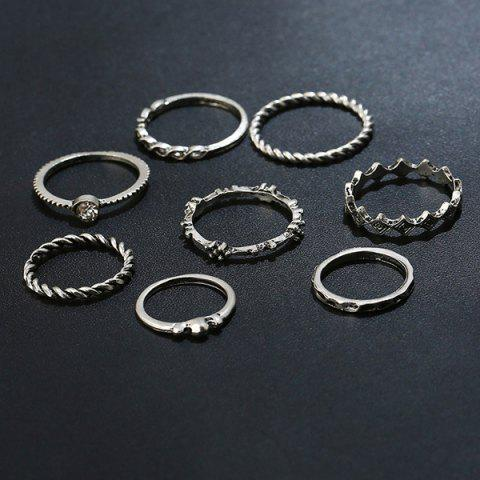 Cheap Rhinestone Alloy Engraved Ring Set - SILVER  Mobile