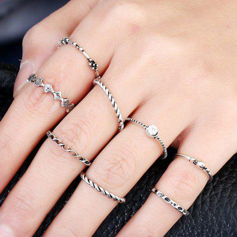 Best Rhinestone Alloy Engraved Ring Set - SILVER  Mobile