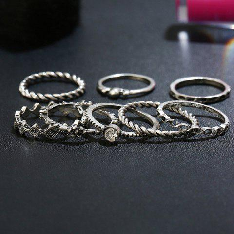 Sale Rhinestone Alloy Engraved Ring Set - SILVER  Mobile