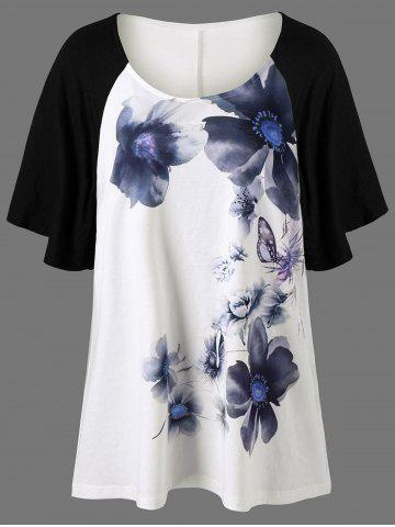 Best Raglan Sleeve Floral Painted Plus Size T-Shirt - 3XL WHITE Mobile