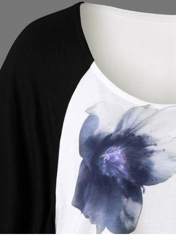 Fancy Raglan Sleeve Floral Painted Plus Size T-Shirt - 4XL WHITE Mobile