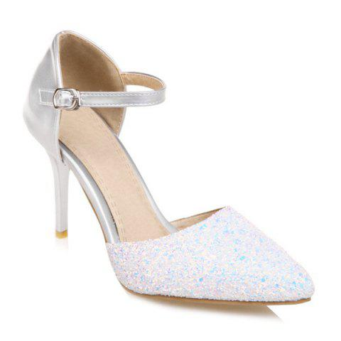Two Piece Sequins Pumps - SILVER 38