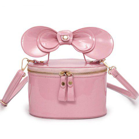 Outfits Bowknot Patent Leather Crossbody Bag PINK