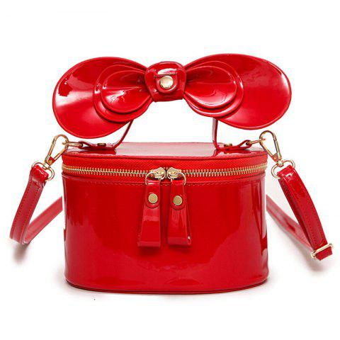 New Bowknot Patent Leather Crossbody Bag RED