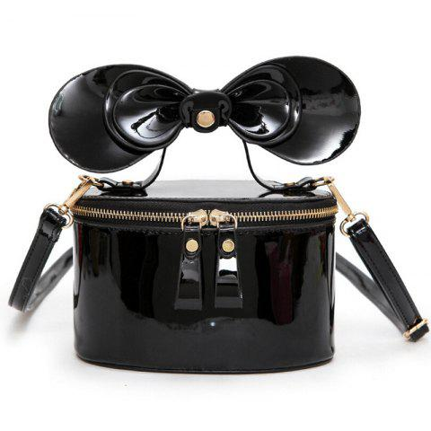 Bowknot Patent Leather Crossbody Bag - Black