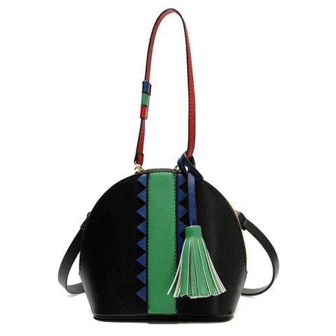 Outfit Tassel Color Blocking Crossbody Bag
