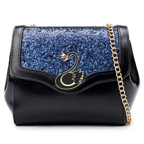 Fancy Swan Sequin Panel Crossbody Bag