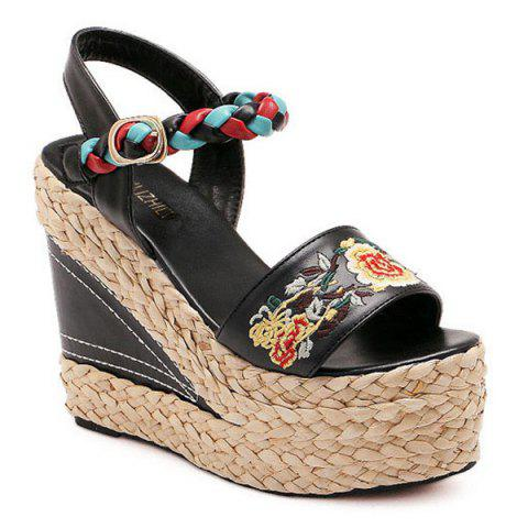 Weaving Embroidery Platform Sandals - Black - 38