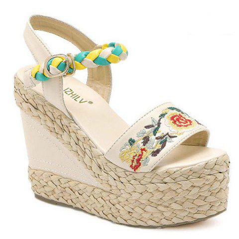 Discount Weaving Embroidery Platform Sandals