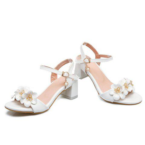 Online Faux Pearl Flowers Block Heels Sandals - 38 WHITE Mobile