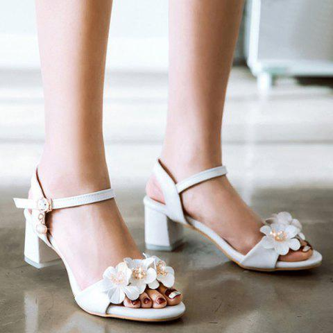 Trendy Faux Pearl Flowers Block Heels Sandals - 38 WHITE Mobile