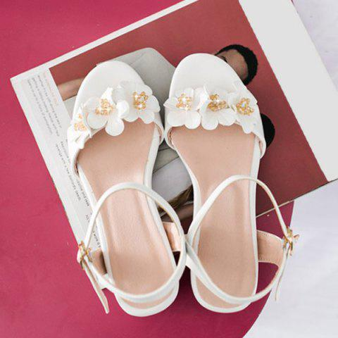 Outfit Faux Pearl Flowers Block Heels Sandals - 38 WHITE Mobile