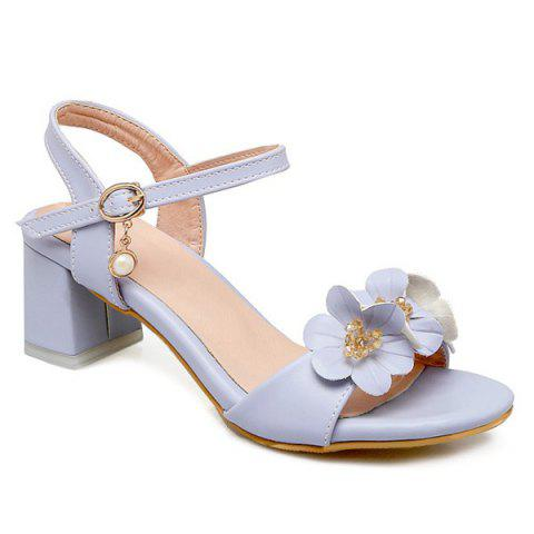 Faux Pearl Flowers Block Heels Sandals - Light Blue - 38